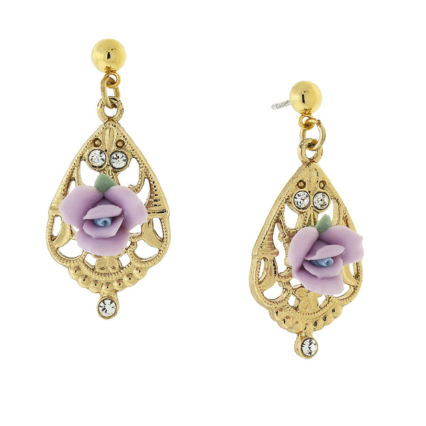 Gold-Tone Porcelain Rose With Crystal Accent Filigree Drop Earrings Light Purple