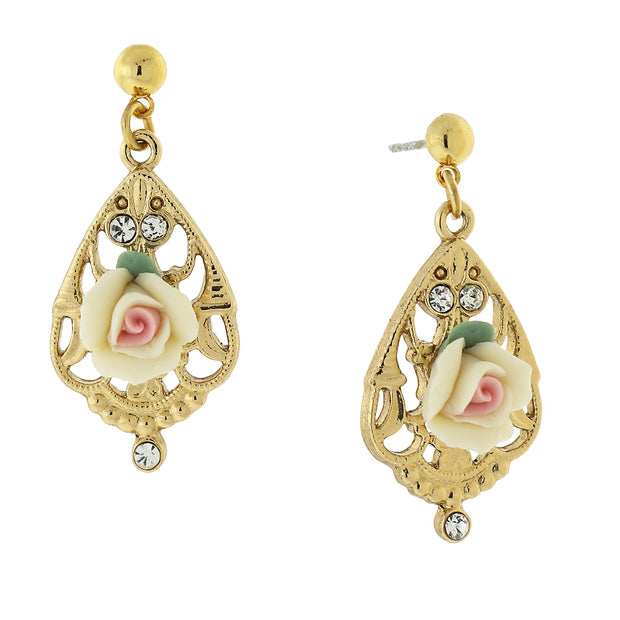 Gold Tone Porcelain Rose With Crystal Accent Filigree Drop Earrings Ivory