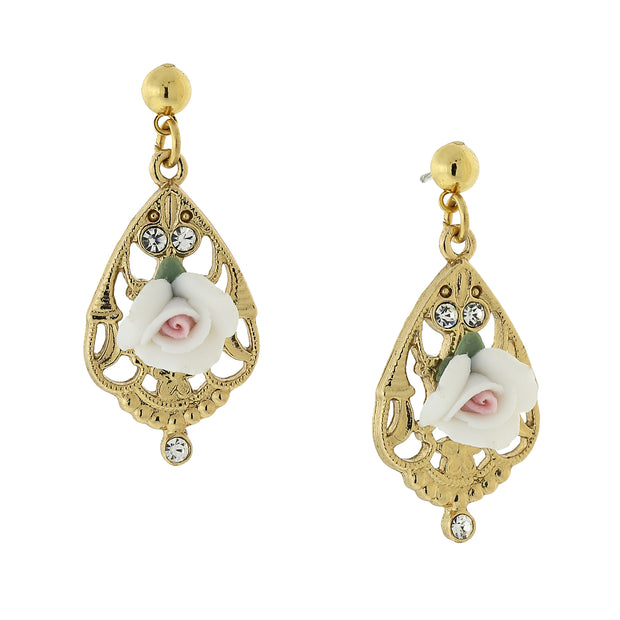 Gold Tone Porcelain Rose With Crystal Accent Filigree Drop Earrings White
