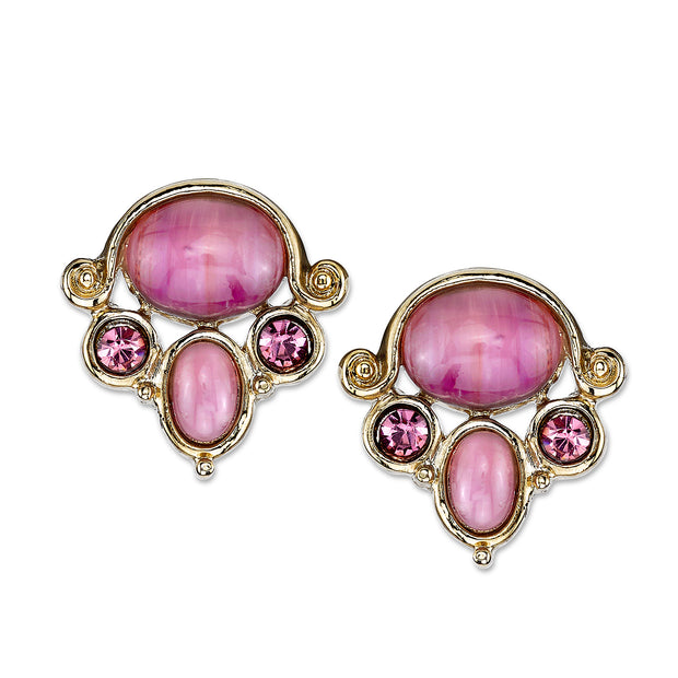 Gold-Tone Purple Button Earrings