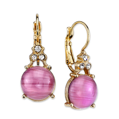 Gold-Tone Lt. Purple With Crystal Accent Drop Earrings