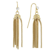 Gold Tone Crystal Tassel Drop Ohrring