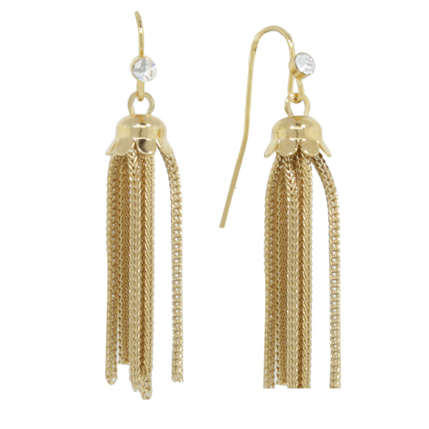 1928 Jewelry Gold Tone Crystal Tassel Drop Earring