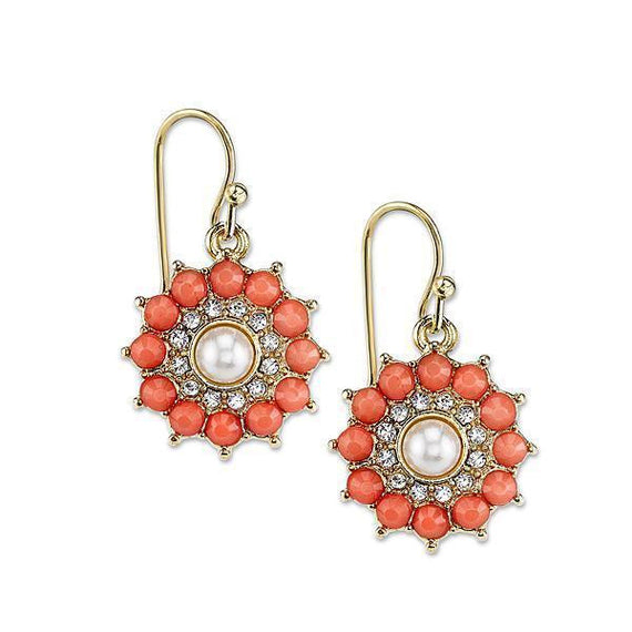 Gold-Tone Coral Orange and Crystal Accent Round Drop Earrings