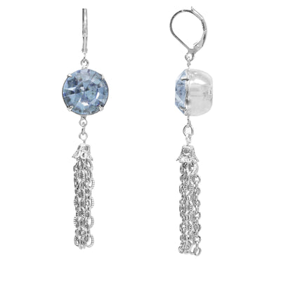 Silver Tone Lt Blue Swarovski Crystal Drop Tassel Earrings