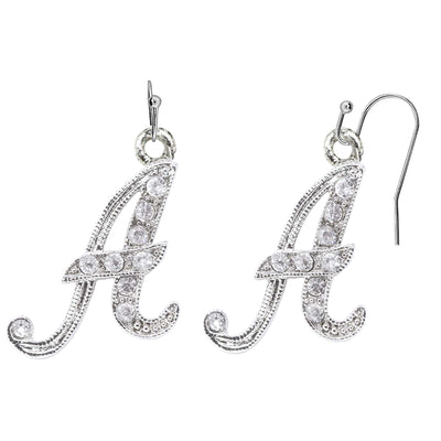 Silver Tone Crystal Initial Wire Earrings