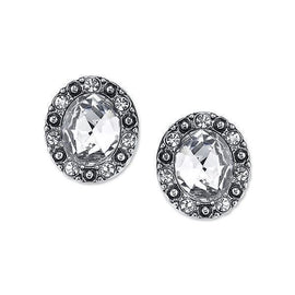 Silver-tone Crystal Post Button Earrings