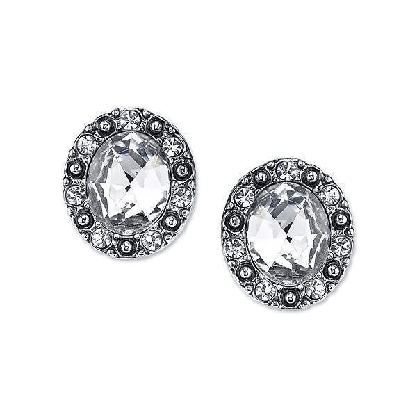 Silver Tone Crystal Post Button Earrings