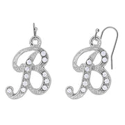 Silver Tone Crystal Initial Wire Earrings N