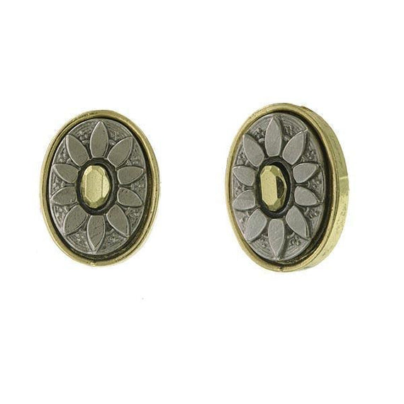 Gold-Tone and Silver-Tone Oval Button Earrings