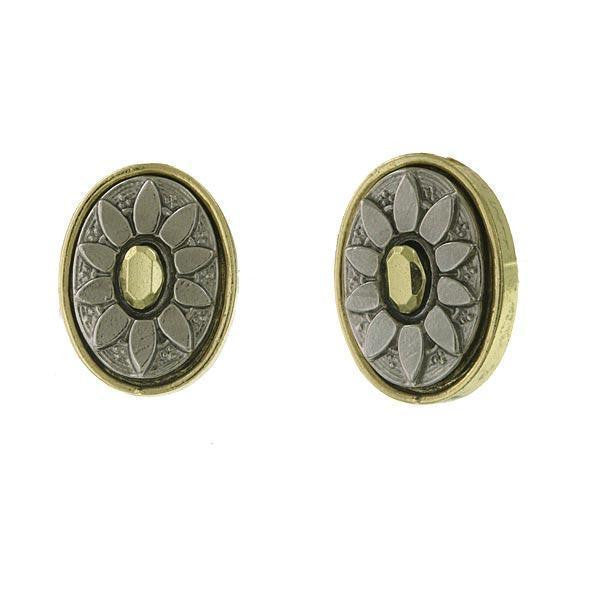 Gold-Tone And Silver-Tone Oval Button Clip On Earrings
