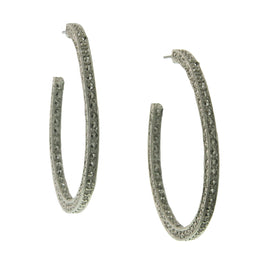 1928 Jewelry: 1928 Jewelry - Sparkling Marcasite Hoop Earrings