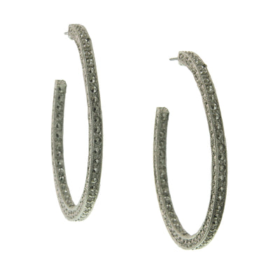 Silver Tone Large Hoop Earrings