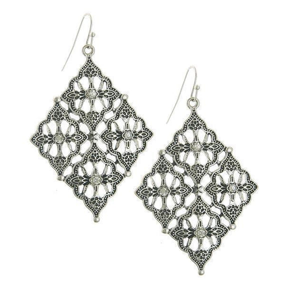 Silver-Tone Crystal Diamond Shaped Drop Earrings