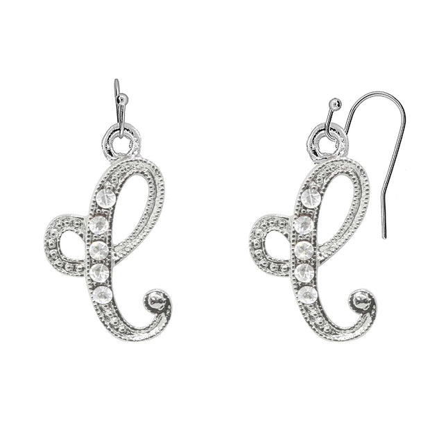 Silver Tone Crystal Initial Wire Earrings P