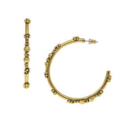 Matte 14K Gold Dipped Floral Hoop Earrings