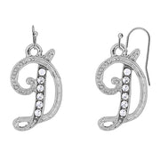Silver Tone Crystal Initial Wire Earrings S