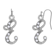 Silver Tone Crystal Initial Wire Earrings T