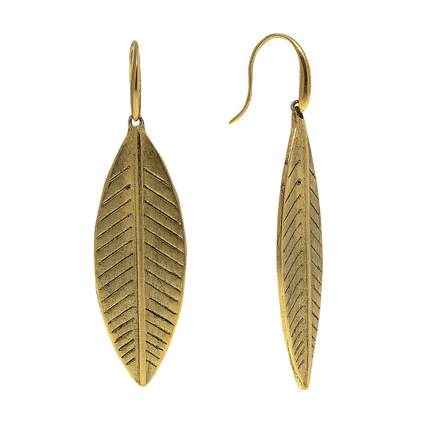 T.R.U. Large Linear Leaf Earrings