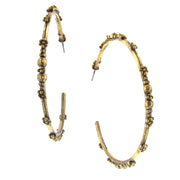 Matte 14K Gold Dipped Large Floral Hoop Earrings