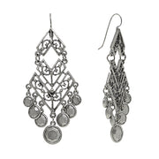 Pewter-Tone Large Chevron Chandelier Earrings