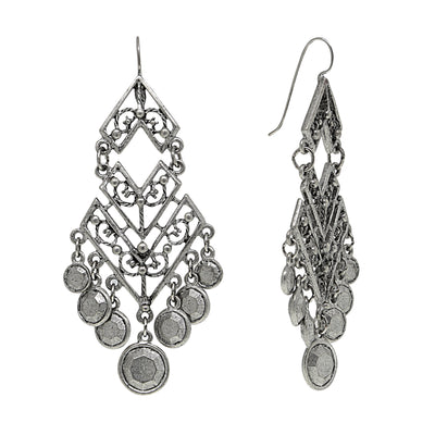 Pewter Tone Large Chevron Chandelier Earrings
