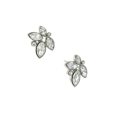 Silver-Tone Clear Crystal Cluster Post Earrings