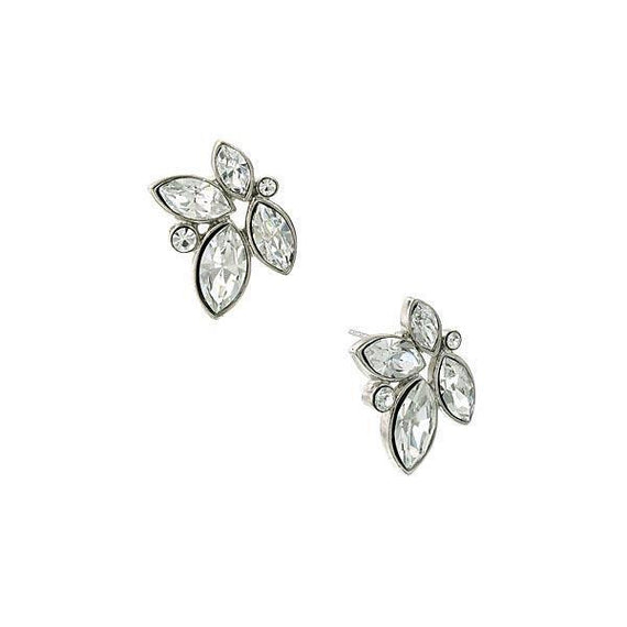 Silver Tone Clear Crystal Button Earrings
