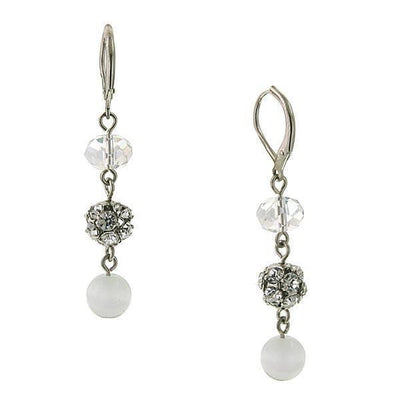 Silver Tone White Cat S Eye Drop Earrings