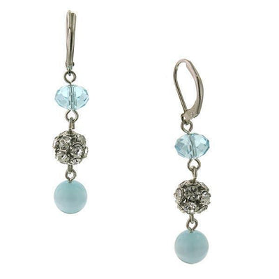 Silver Tone Aqua Blue Cat S Eye Drop Earrings