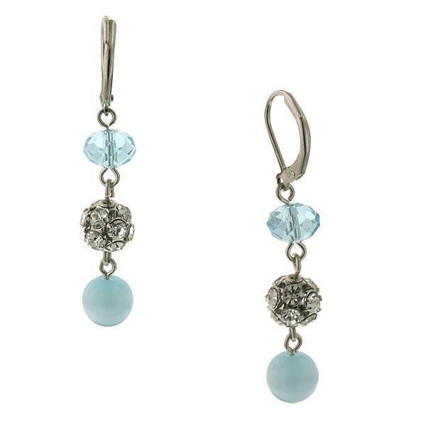 Silver-Tone Aqua Blue Cat S Eye Drop Earrings