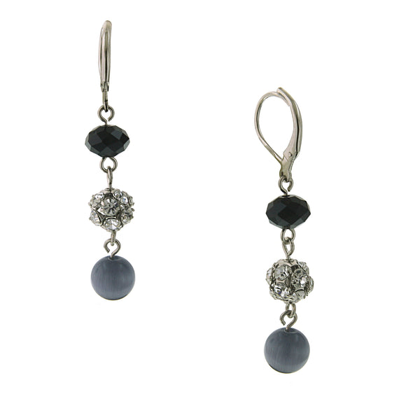 Silver Tone Light Grey Cat's Eye Drop Earrings