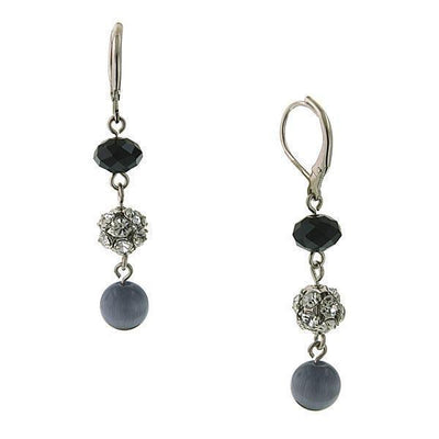 Silver-Tone Light Grey Cat S Eye Drop Earrings