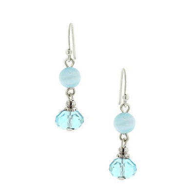 Silver Tone Blue Bead Wire Drop Earrings