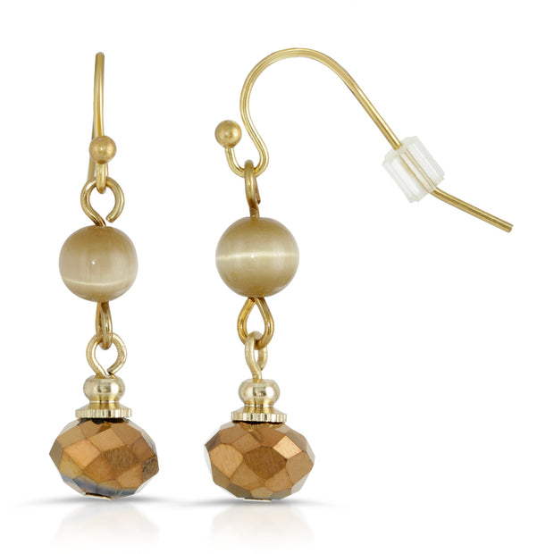 Gold-Tone Light Brown Bead Wire Drop Earrings