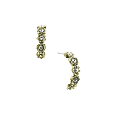 Gold-Tone Crystal Hoop Earrings