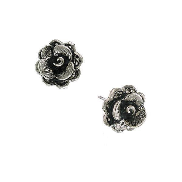 Silver Tone Flower Stud Earrings
