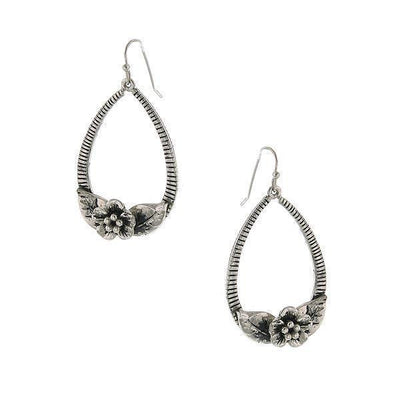 Silver Tone Flower Teardrop Hoop Earrings
