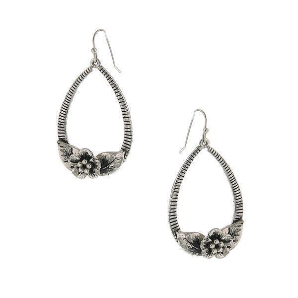 Silver-Tone Flower Teardrop Hoop Earrings