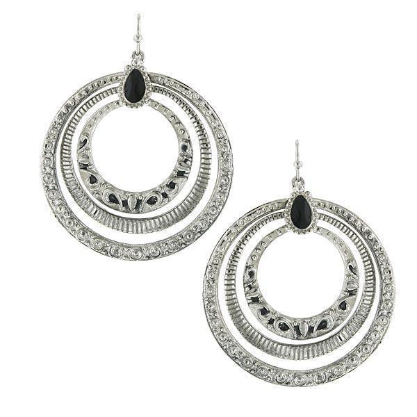 Silver Tone Jet Hoop Earrings