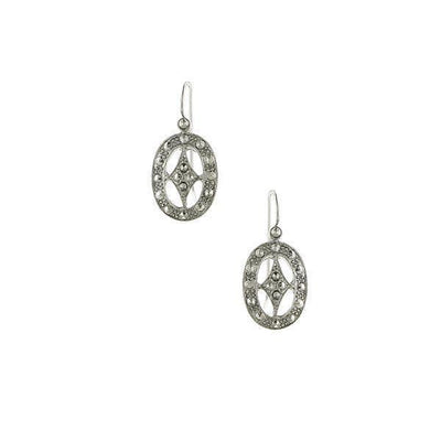 Silver Tone Oval Drop Earrings