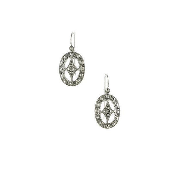 Silver-Tone Oval Drop Earrings