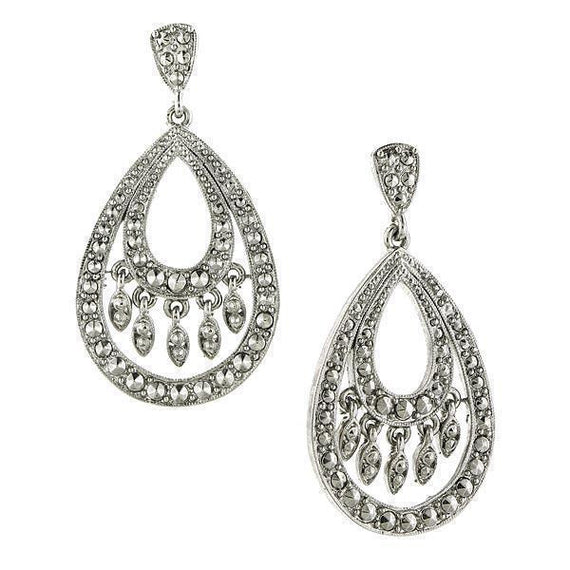 Silver-Tone Teardrop Earrings