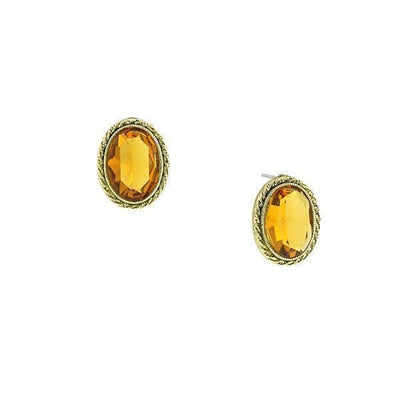 Gold Tone Topaz Oval Button Earrings