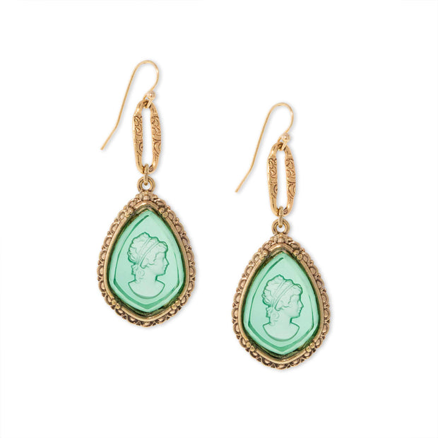 Gold Tone Aqua Green Intaglio Cameo Drop Earrings