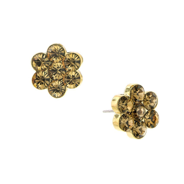 Gold Tone Light Brown Flower Button Earrings