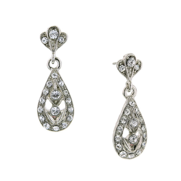 Silver Tone Crystal Teardrop Earrings