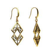 Matte Antiqued 14K Gold Dipped Chevron Drop Earrings