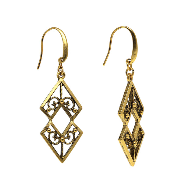 Matte Antiqued 14K Gold-Dipped Chevron Drop Earrings