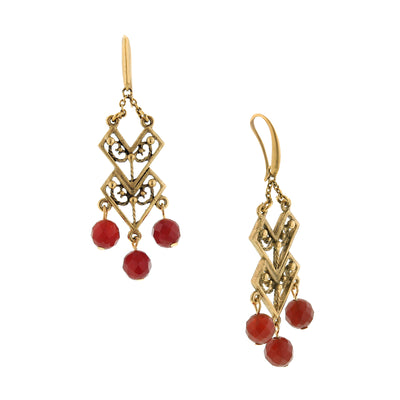 Matte Antique 14K Gold Dipped And Carnelian Chevron Drop Earrings